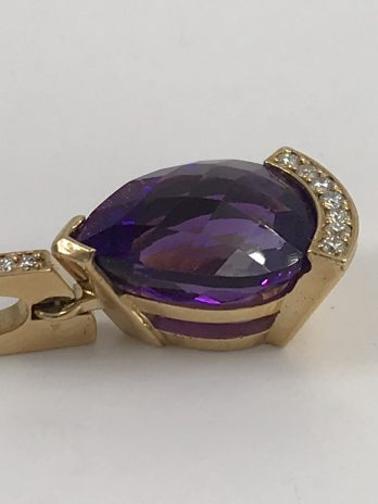 Pendentif or jaune améthyste diamants