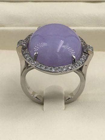 Bague or gris jade lavande et diamants