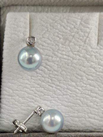 Boucles d'oreilles or gris perles Akoya et diamants