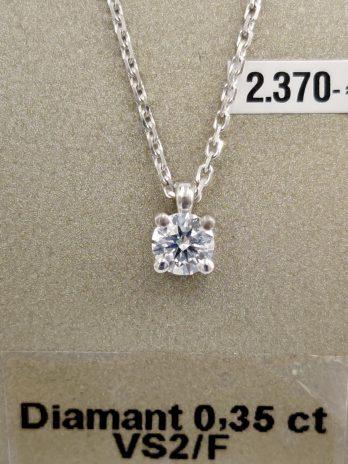 Pendentif or gris diamants